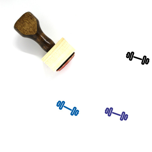 Barbell Wooden Rubber Stamp No. 87
