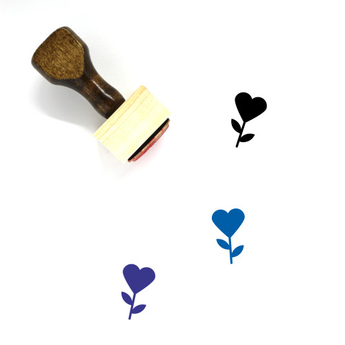 Heart Flower Wooden Rubber Stamp No. 13