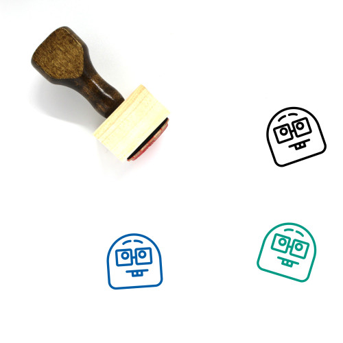 Geek Face Wooden Rubber Stamp No. 1