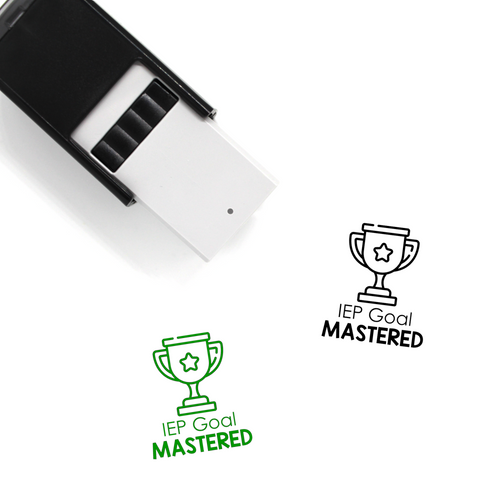 """IEP Goal Mastered"" Self-Inking Rubber Stamp for Teachers"