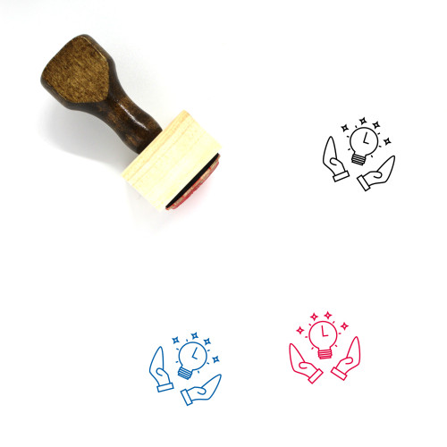 """""""Interval"""" wooden rubber stamp with 3 sample imprints of the image"""