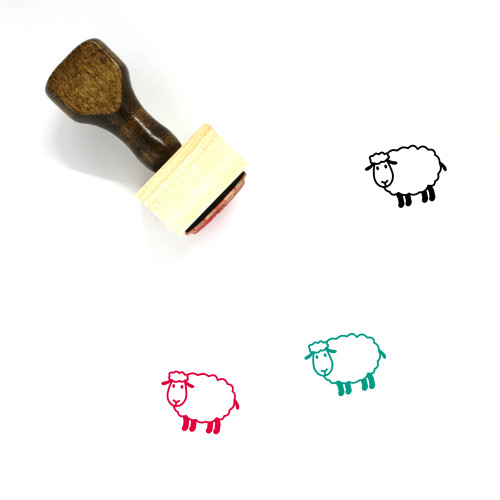 """""""Sheep"""" wooden rubber stamp with 3 sample imprints of the image"""