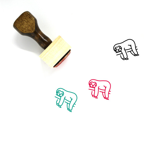 """""""Sloth"""" wooden rubber stamp with 3 sample imprints of the image"""