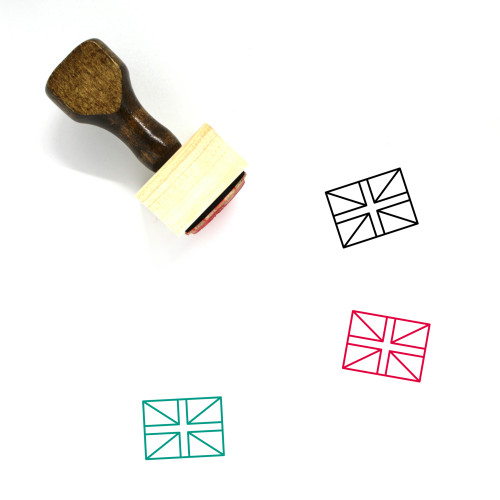 """""""United Kingdom Flag"""" wooden rubber stamp with 3 sample imprints of the image"""