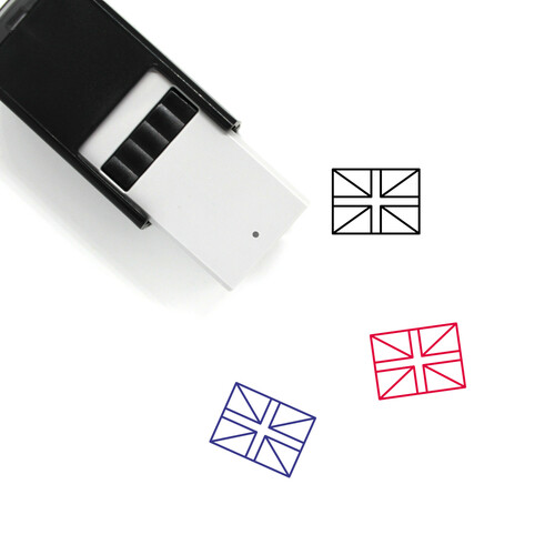 """""""United Kingdom Flag"""" self-inking rubber stamp with 3 sample imprints of the image"""