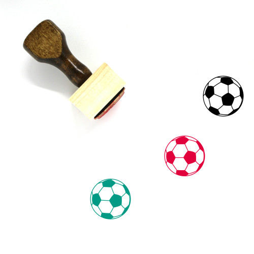 """""""Soccer"""" wooden rubber stamp with 3 sample imprints of the image"""