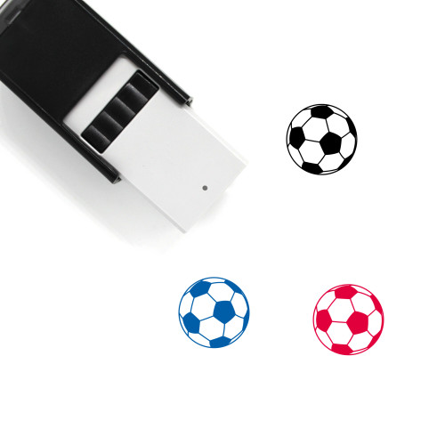 """""""Soccer"""" self-inking rubber stamp with 3 sample imprints of the image"""