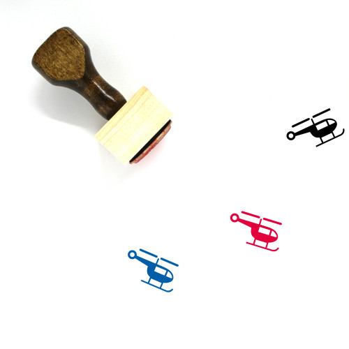 """Helicopter"" wooden rubber stamp with 3 sample imprints of the image"