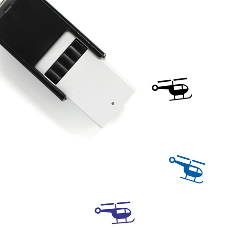 """Helicopter"" self-inking rubber stamp with 3 sample imprints of the image"
