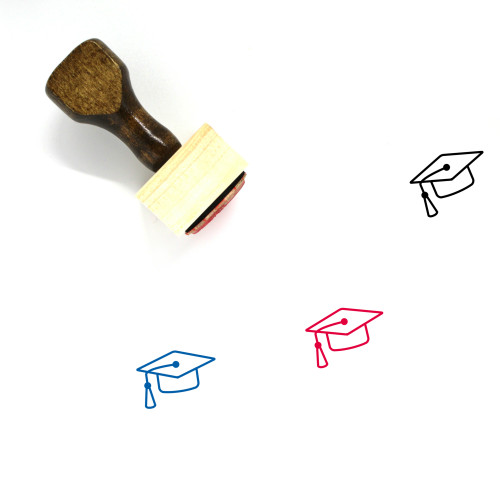 """""""Graduation Cap"""" wooden rubber stamp with 3 sample imprints of the image"""