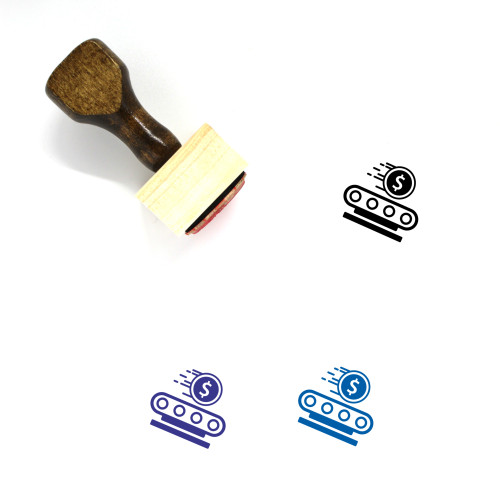 """""""Assembly Line Makes Money Automatically"""" wooden rubber stamp with 3 sample imprints of the image"""