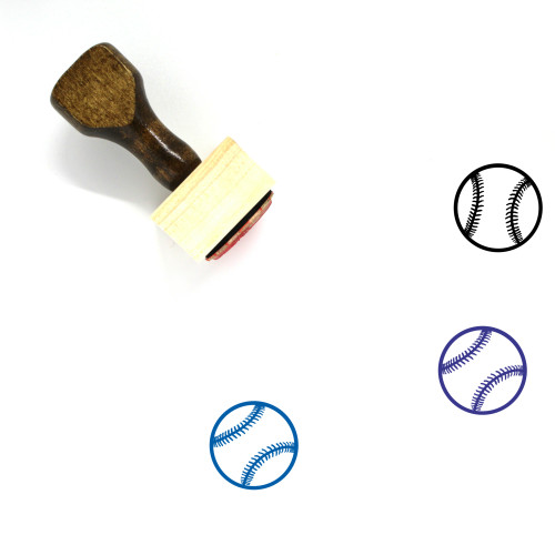 """""""Baseball"""" wooden rubber stamp with 3 sample imprints of the image"""