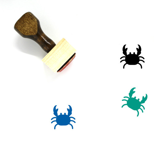"""Crab"" wooden rubber stamp with 3 sample imprints of the image"