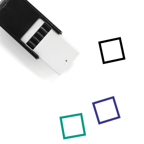 """Checkbox Empty"" self-inking rubber stamp with 3 sample imprints of the image"