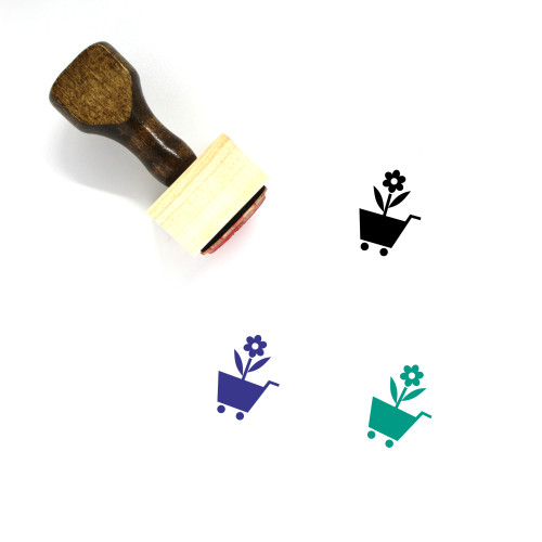 """Nursery Garden"" wooden rubber stamp with 3 sample imprints of the image"