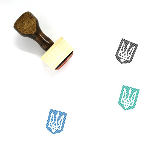 """Shield Trident"" wooden rubber stamp with 3 sample imprints of the image"