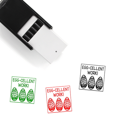 """Egg-cellent Work"" Self-Inking Rubber Stamp for Teachers"