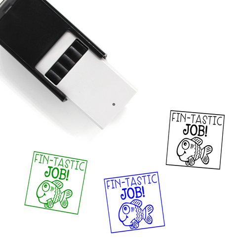 """Fin-tastic Job"" Self-Inking Rubber Stamp for Teachers"