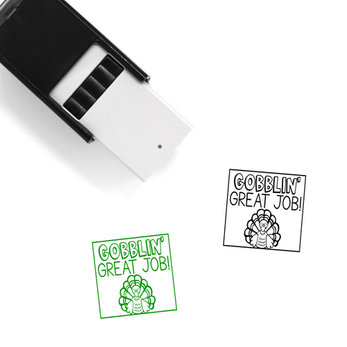 """Gobblin' Great Job"" Self-Inking Rubber Stamp for Teachers"