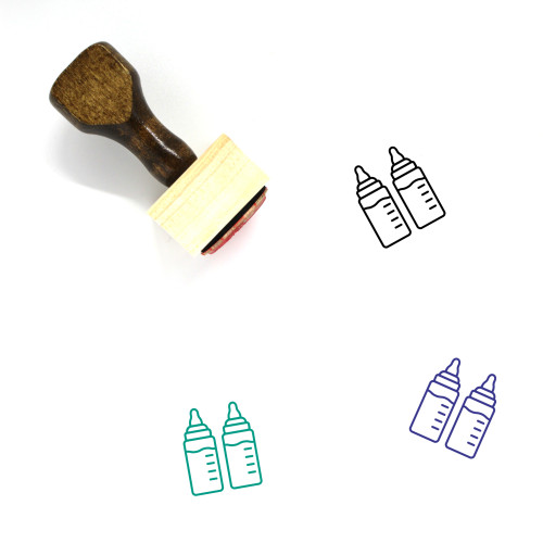 """Baby Bottles"" wooden rubber stamp with 3 sample imprints of the image"