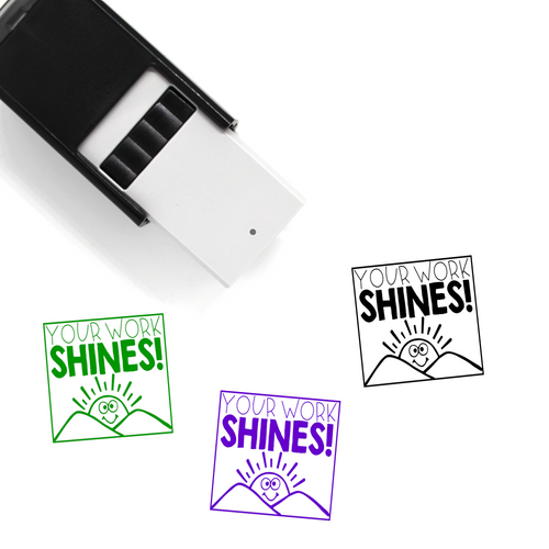 """Your Work Shines"" Self-Inking Rubber Stamp for Teachers"