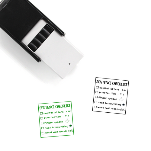 """Full Sentence Checklist"" Self-Inking Rubber Stamp for Teachers"