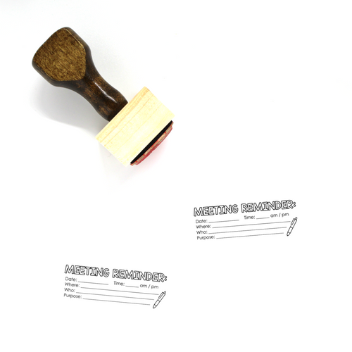 """Meeting Reminder"" Wooden Rubber Stamp for Teachers"