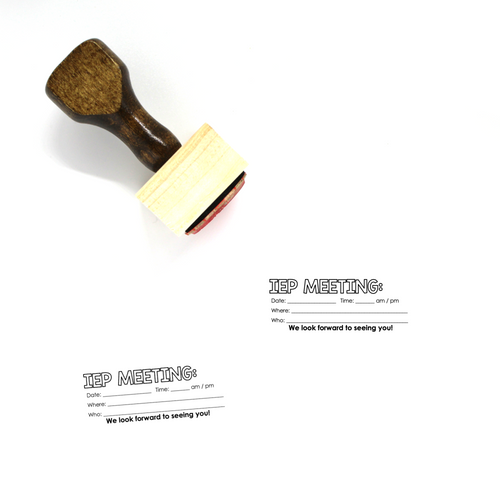 """IEP Meeting"" Wooden Rubber Stamp for Teachers"