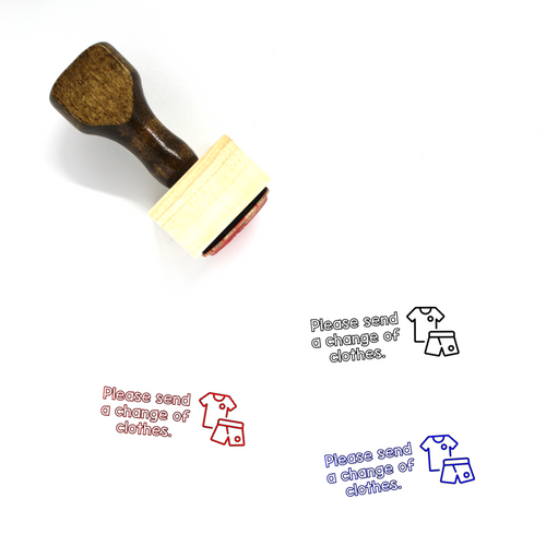 """Change of Clothes"" Wooden Rubber Stamp for Teachers"