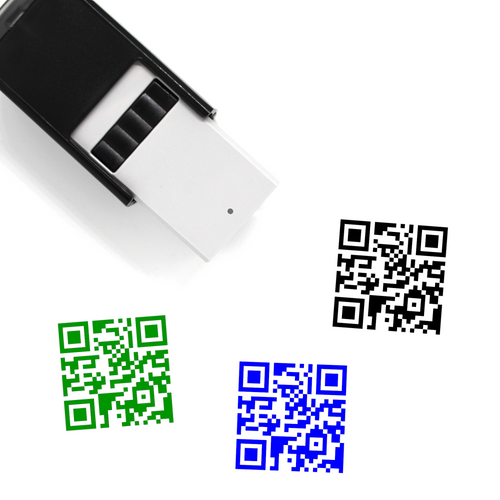 """QR Code"" self-inking rubber stamp with 3 sample imprints of the image"