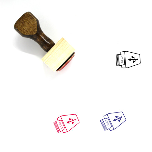 """USB Flash Drive"" wooden rubber stamp with 3 sample imprints of the image"