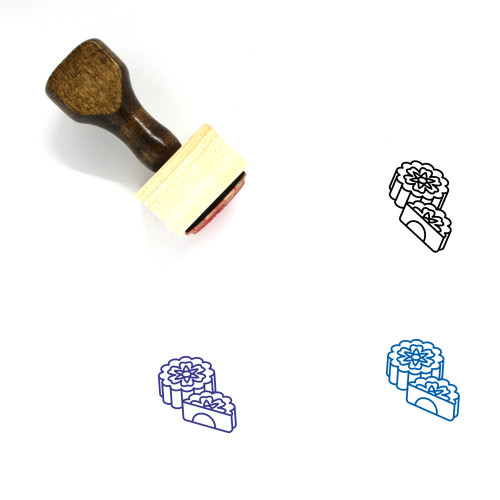 """""""Mooncakes"""" wooden rubber stamp with 3 sample imprints of the image"""