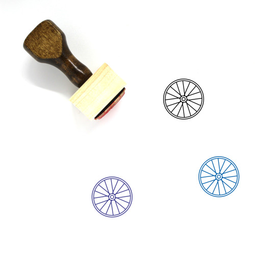 """""""Bicycle Wheel"""" wooden rubber stamp with 3 sample imprints of the image"""