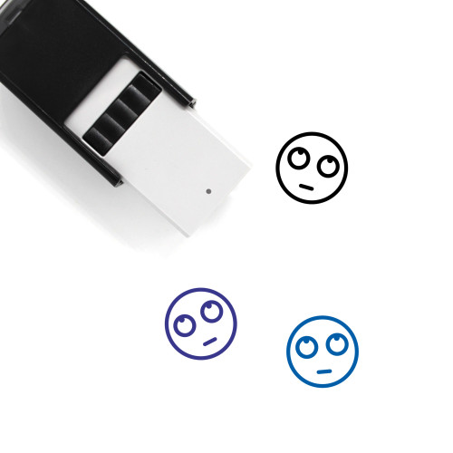 """""""Eyeroll"""" self-inking rubber stamp with 3 sample imprints of the image"""