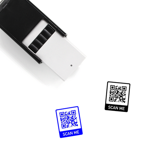 "Custom QR Code ""SCAN ME"" Self-Inking Rubber Stamp"