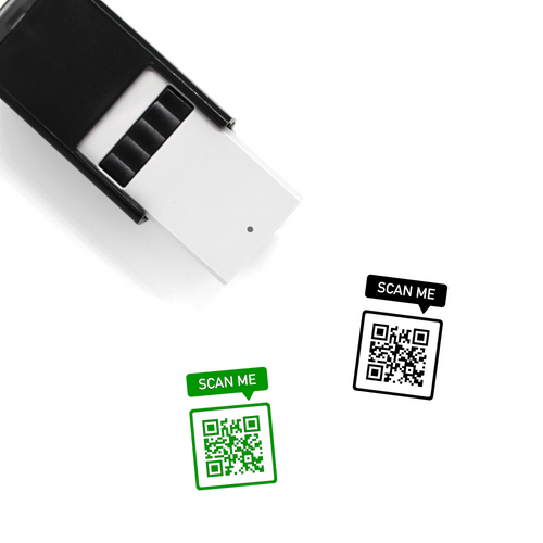 "Custom QR Code ""SCAN ME"" Bubble Self-Inking Rubber Stamp"