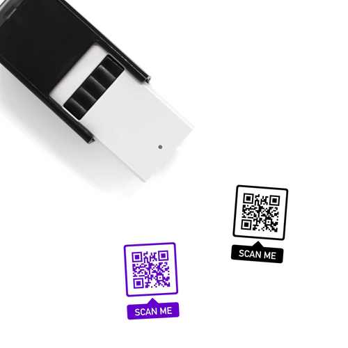 "Custom QR Code ""SCAN ME"" Bubble Self-Inking Rubber Stamp No. 2"
