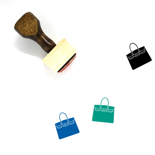 """""""Purse"""" wooden rubber stamp with 3 sample imprints of the image"""