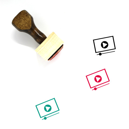 """""""Video Player"""" wooden rubber stamp with 3 sample imprints of the image"""
