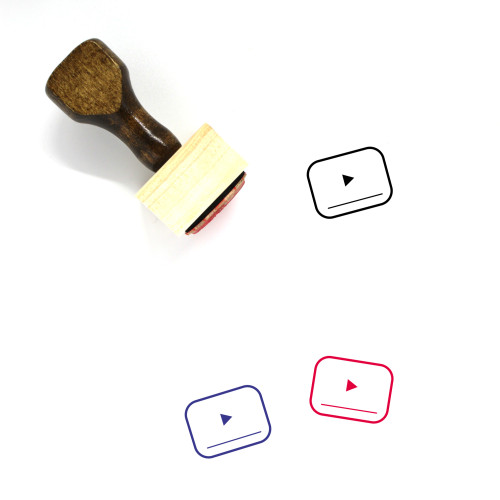 """Video Player"" wooden rubber stamp with 3 sample imprints of the image"