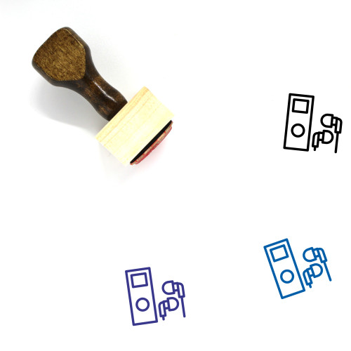 """Mp3 Player"" wooden rubber stamp with 3 sample imprints of the image"