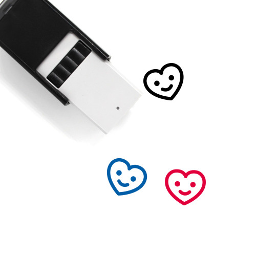 """Heart"" self-inking rubber stamp with 3 sample imprints of the image"