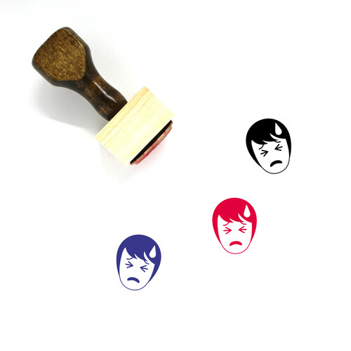 """Confused"" wooden rubber stamp with 3 sample imprints of the image"
