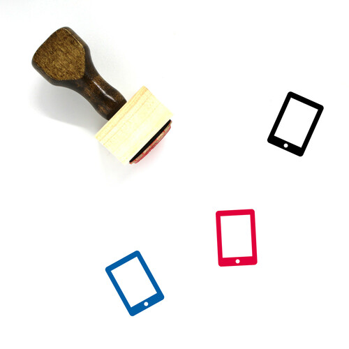 """Tablet"" wooden rubber stamp with 3 sample imprints of the image"