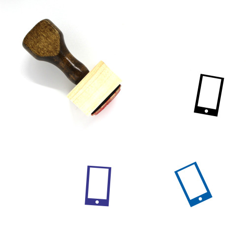 """Smart Phone"" wooden rubber stamp with 3 sample imprints of the image"