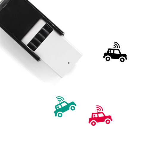 """""""Self Driving Car"""" self-inking rubber stamp with 3 sample imprints of the image"""