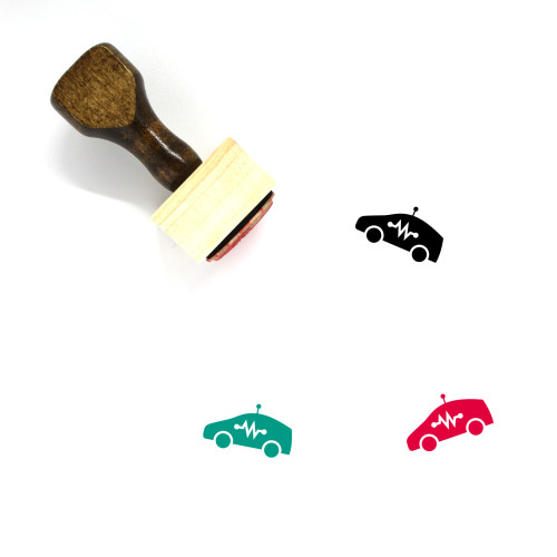 """""""Self Driving Car"""" wooden rubber stamp with 3 sample imprints of the image"""