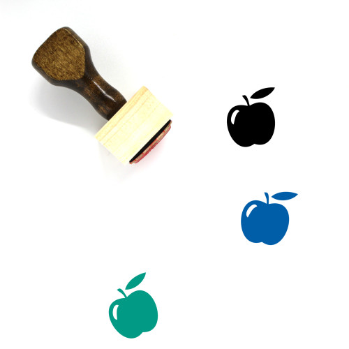 """Apple"" wooden rubber stamp with 3 sample imprints of the image"