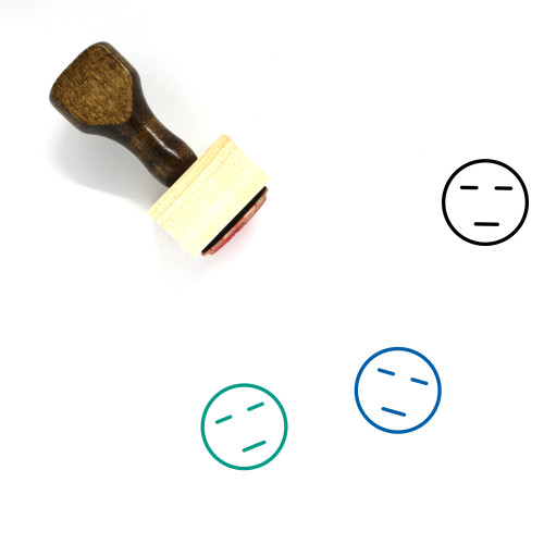 """""""Expressionless"""" wooden rubber stamp with 3 sample imprints of the image"""