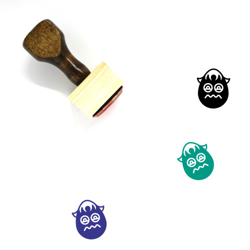 """""""Sick Boy Emoji"""" wooden rubber stamp with 3 sample imprints of the image"""